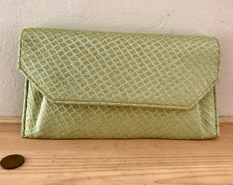 Vintage Pale Green Seafoam and Metallic Gold Clutch Purse Bag