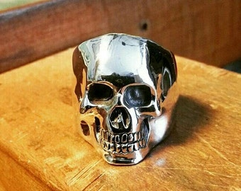Sterling Silver Skull Ring Rock Biker Style men women jewelry gift for him and her christmas gift handmade rocknroll luxury accessories
