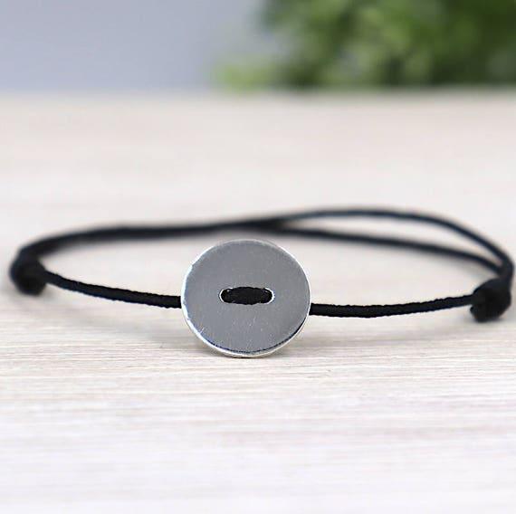 Silver 925 round button cord bracelet