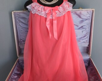 Vintage Coral Chiffon Nightgown, Feminine wLace and Pretty Bow Neckline, Small
