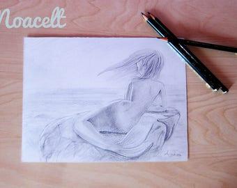 Print graphite mermaid/graphite mermaid Print