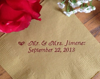 Personalized Napkins Custom 50 100 150 200 250 300 400 500 Cocktail Wedding Anniversary Birthday Printed Monogram Engraved ALL Occasions