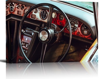 Classic Vintage Car Dashboard Art Print Wall Decor Image - Canvas Stretched Framed