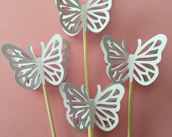 "24 Pieces 8"" Skewer White Butterfly Cupcake Toppers, Birthdays, Party Decor, Weddings, Showers"