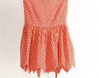 Adorable 60s  Orange Red Sundress Girl Toddler 1T 2T