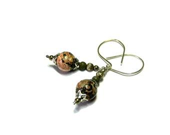 Leopard Skin Jasper Earrings Jasper Earrings Mothers day gifts Top Selling Jewelry gift for mom beaded silver earrings etsy earrings