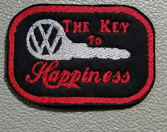 The Key to Happiness VW Sew on Embroidered Patch