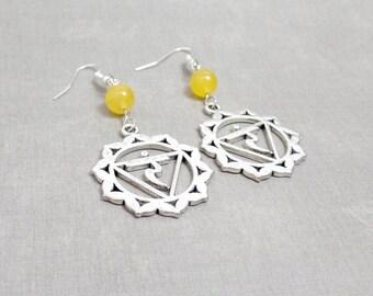 Solar Plexus Chakra Earrings - Jade Earrings - Yellow - Gemstone Earrings - Silver Chakra