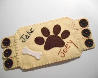 Dog Paws Fabric Coaster, Dog Mugrug, Personalized coaster, custom monogram