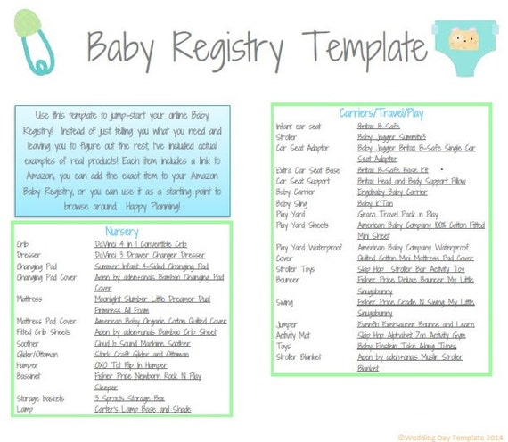 Baby Nursery Decorating Checklist: PRINTABLE Baby Registry Template