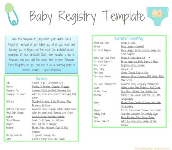 Checklist For Baby Shower Registry: PRINTABLE Baby Registry Template