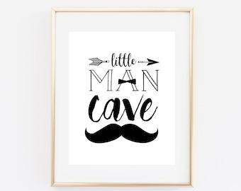 Little man cave, baby boy nursery, nursery decor, baby shower gift, boys room decor, minimalist art, black and white nursery art, man cave