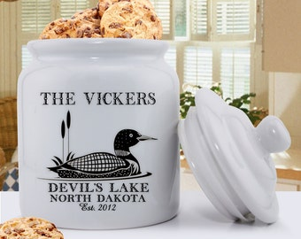 Personalized Cabin Cookie Jar with Loon - Personalized Lake House Decor - Ceramic Cookie Jars - Cabin Decor Cookie Jar - GC1417