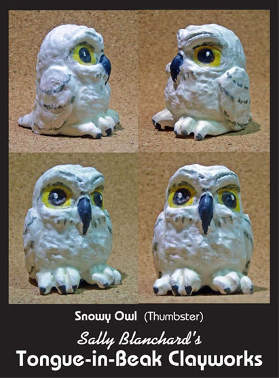 """Snowy Owl - Sally Blanchard's Tongue-in-Beak Clayworks """"Thumbster"""""""