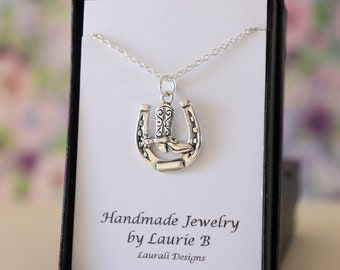 Horse Shoe Boot Charm Necklace, Friendship Gift, Sterling Silver, Mother Daughter Gift, Silver Horse Shoe Boot Charm, Thank you card