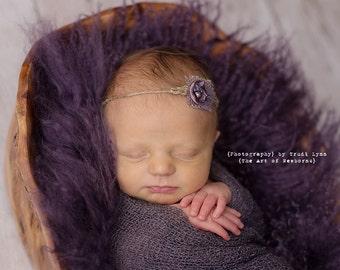 Organic Purple Pearl Newborn Tieback. Baby Headband, Photography Prop, Purple Newborn Prop, Rustic Purple, Organic Prop, Freshwater Pearl