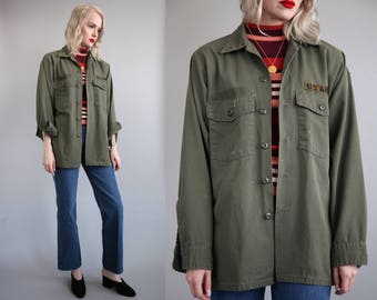 Vtg 70s Army Fatigue Shirt Jacket sz M