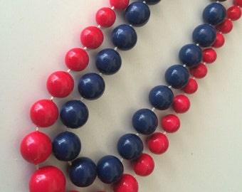 Two for One Navy Blue 12mm Beads and Bright Cherry Red Light Weight Graduated Bead Necklace