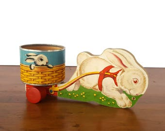 Vintage Fisher Price Easter Bunny Cart White Rabbit Pull Toy Bunny Pull Toy 5 1948 Bunny Pull Toy Wood Pull Toy Vintage Easter