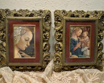 Vintage Renaissance Pictures - Ornate Frames - Mid Century Frames - Gold Frames - Women - French Home Decor