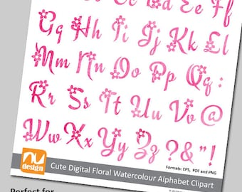 Digital Watercolour Floral Alphabet Clipart Letter Set. Use to add finishing touches to scrapbooking projects.
