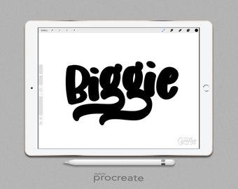 Procreate Brush Biggie Brush, Fat Procreate Brush, Lettering Brush, iPad lettering, Sign painting procreate , iPad Lettering