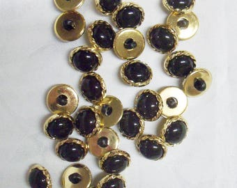 """12 Buttons, 5/8"""" Small, Round, Black, Braided Gold Setting, Lightweight, 100% Acrylic"""