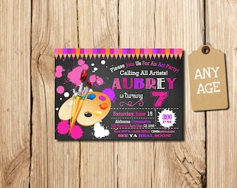 Art Birthday Party Invitation, Art Party Invitation, Art Birthday Invitation, Printable Art party invitation, Kids' birthday invitations