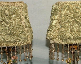 """Vintage Pair Shabby Chic Green Ruched Silk Beaded Fringe Lampshades 4.5"""" x 5"""""""
