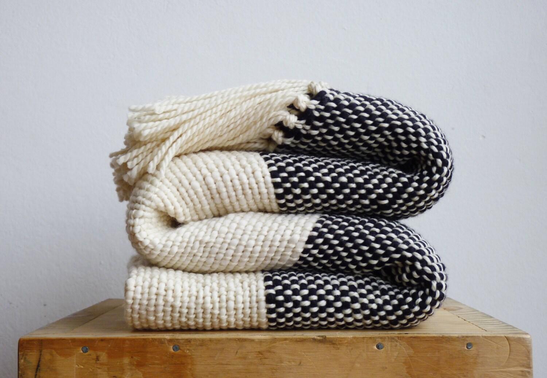 Chunky Knit Blanket Boho Bedding Wool Woven Throw