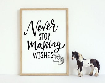 Never Stop Making Wishes Unicorn Black & White Kids Room Wall Art Print Decor
