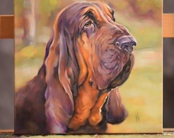Custom Pet Portrait painting, oil on canvas dog portrait