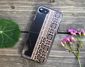 Hawaiian Tribal Print in Brown, Phone Case for iPhone 5, SE, 6, 6 Plus, 7, 7Plus, 8, 8 Plus and X. TPU or Wood Options