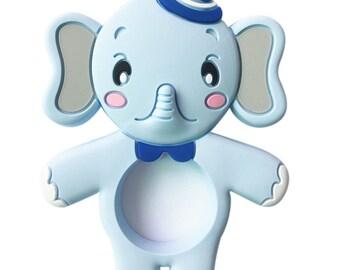 Blue silicone elephant teether