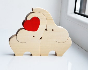Wooden  love elephants, Puzzle Toy, Wooden Puzzle elephant, Educational toys, Kids gifts, Animal puzzle, elephant Family