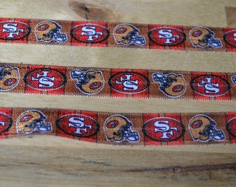 "1, 3, 5 Yards 5/8""  San Francisco 49ers FOE Fold Over Elastic"