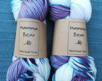 Hand dyed DK yarn, super-wash merino/nylon wool. All the Violets.