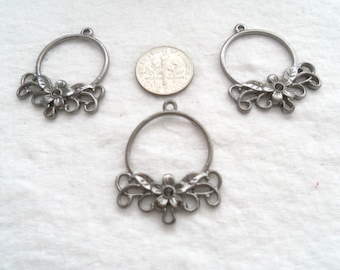 Tibetan Style Chandelier Components with Flowers, Gunmetal, 20 Pieces (1627)