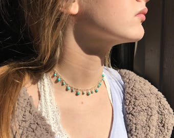 DAINTY TURQUOISE Beaded CHOKER; Small Beaded Necklace, Beach Choker Necklace; Turquoise Necklace; Drop Bead Necklace; Western Necklace
