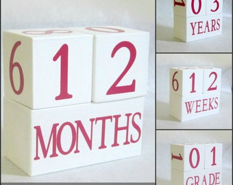 Baby Age Blocks - Bright Pink