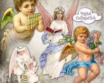 Angels and Cherubs Digital Collage Sheet Christmas Angels Images for Decoupage Paper, Christmas Clipart, Scrapbooking Clip Art Clipart