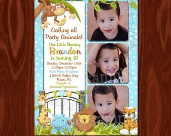 Jungle themed Photo Birthday Invitation PRINTABLE FILE
