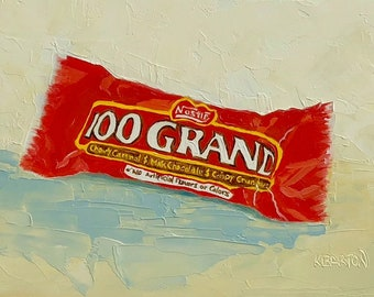 "Nestle 100 Grand Candy Bar small still life ORIGINAL oil painting by Karen Barton 5""x7"""