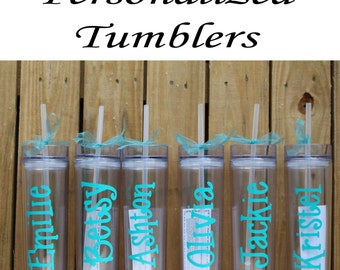 Bridesmaid Tumblers, Set of 5 Personalized Tumbler, Bridesmaid Gift, Bachelorette Party, Bridesmaid Cup, Team Bride, Wedding, Bridal Party