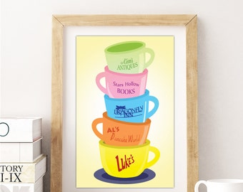 Gilmore Girls Poster, Gilmore girls Mug, Stars Hollow poster, Coffee wall art, coffee sign, but first coffee Luke's Diner mug, dragonfly inn