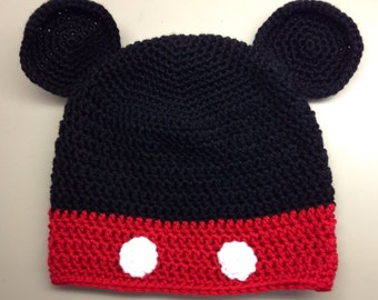 Crochet Mickey Mouse Hat - Kids Halloween Costume - Baby Halloween Costume