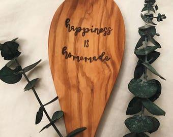 Wood burned wood spoon