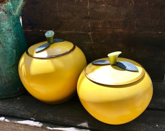 Vintage Yellow Aluminum Apple Canisters | Bright Yellow Mid Century Apple Canisters | 2 Pc.Apple Decor Containers | Farmhouse Kitchen Decor