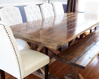 Farmhouse Table, Farm Table, Rustic Farm Table, Table with Bread Ends, Long Farmhouse Table, Dining Room Table, Wide Rustic Table