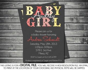 Girls Baby Shower Invitation - Modern, Yellow, Gray, Coral, Chevron, Polka Dots, Printable, Digital
